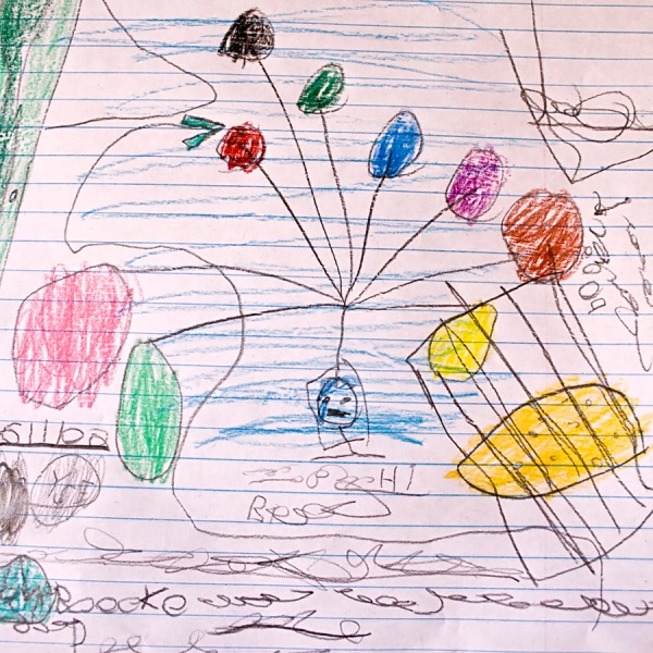 """Drawn after overhearing a conversation, this is Graysen's interpretation of what happened to the """"Balloon Boy,"""" Falcon Heene."""